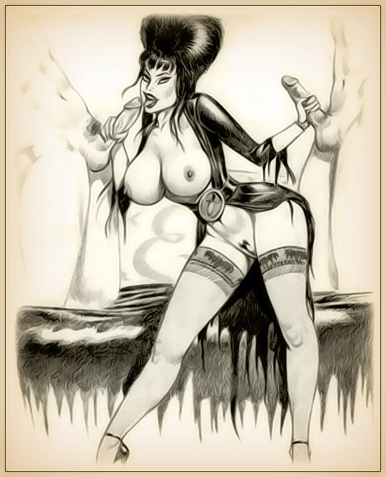 I draw Porn - Elvira and Vampirella share the cocks!